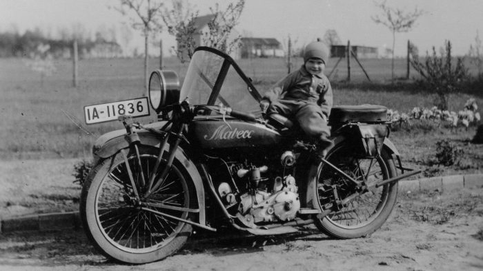 Vintage Motorcycle And Baby